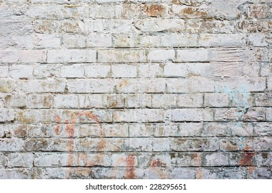Old painted brick wall