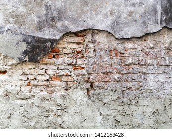 Old painted damaged brick wall. Texture. Abstract background. Colorful pattern.
