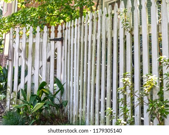 Old painted picket fence