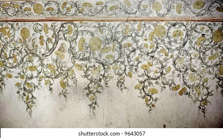 old painted  wallpaper
