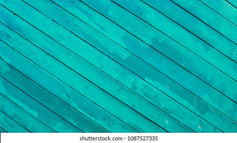 Old painted wood wall. Texture. Vintage wood background with peeling paint. Painted Plain Teal Green Rustic Wood Board Back ground.