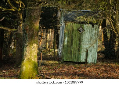 Old painted wooden summerhouse in winter woodland, England