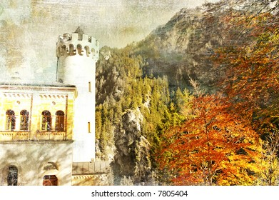 old painting of german castle in autumn