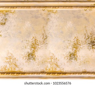 old painting wall with wood border frame vintage decoration style for background