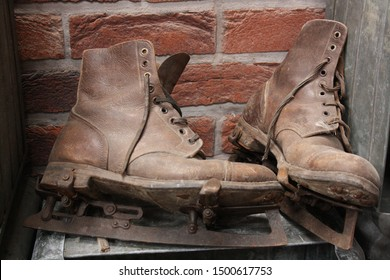 An old pair of ice skates Staffordshire England UK