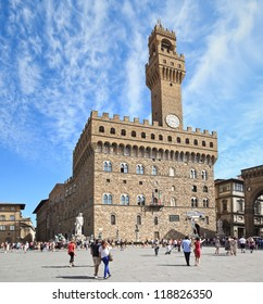 The Old Palace (Palazzo Vecchio or Palazzo della Signoria), Florence - Italy. Image assembled from two horizontal frames