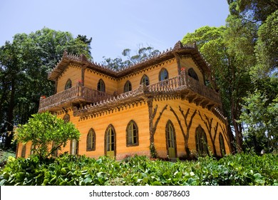 Old palace in Sintra inside Pena Gardens. Portugal.