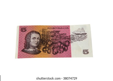 An old paper Australian five dollar note isolated on white. This note was removed from circulation starting in 1992.