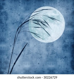 old paper background with grass stalk and full moon