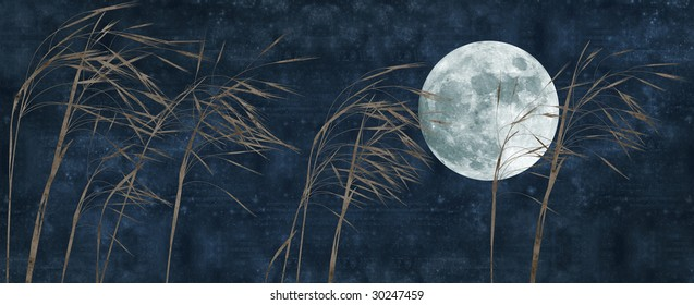 old paper background with grass stalks and full moon