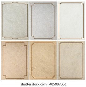 Old paper background texture with vintage frame border design, in A4 size