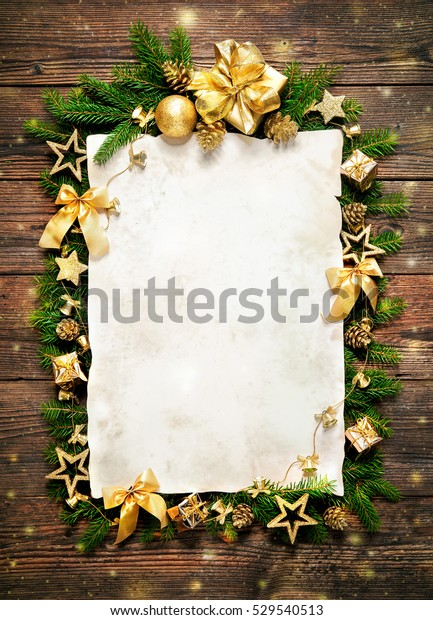 Old Paper Border Christmas Decorations On Stock Photo Edit