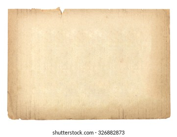 Old paper brown isolated on white background.