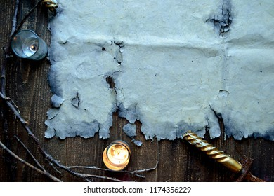 Old paper with candle light.frame