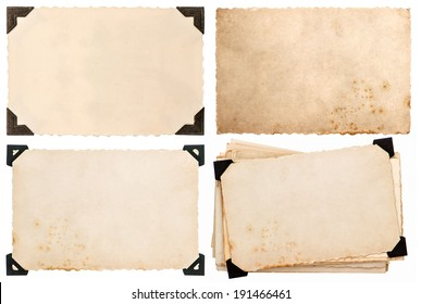 old paper card with corner, postcard isolated on white background