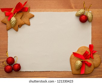 old paper with christmas cookies and decorations