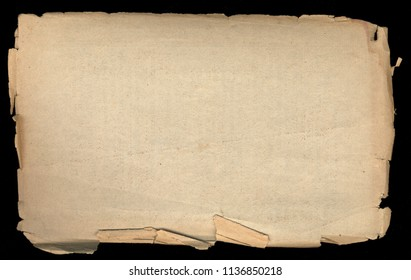 Old paper with coarse torn edges. Isolated Object on a dark background. Vintage texture.