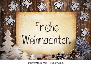 Old Paper, Decoration, Frohe Weihnachten Means Merry Christmas, Snowflakes