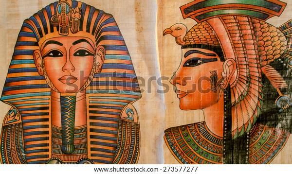 старая бумага с египетская королева Клеопатра и сфинкс