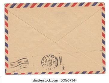 Old paper envelope with meter stamp on rear side