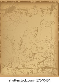 Old paper with floral silhouettes