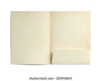 Old paper folder (with clipping path) isolated on white background
