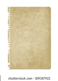 Old paper isolated on white. Notebook paper