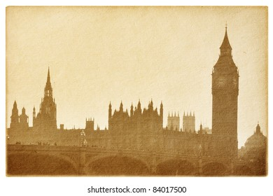 old paper  isolated on the white. Buildings of Parliament with  Big Ben tower in London UK.