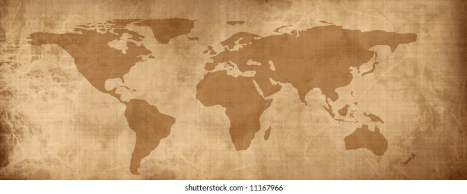Old paper map of the world