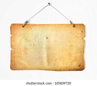 Old paper notice board isolated on white