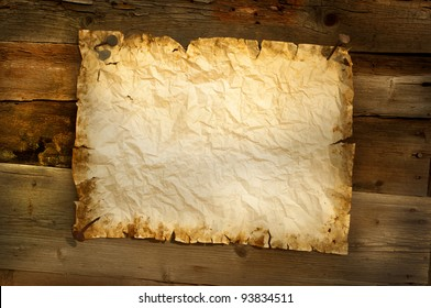 old paper  on wood background horizontal