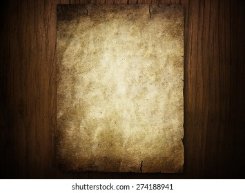 old paper on wood board background