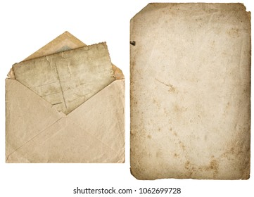 Old paper page and vintage envelope isolated on white background