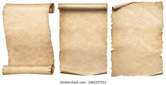Old paper or parchments collection isolated on white