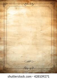 Old paper with patterned vintage frame - blank for your design