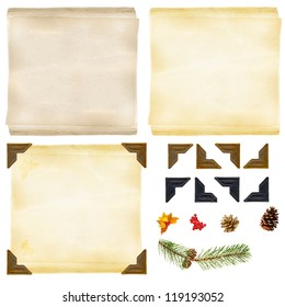 Old paper, photo corners and decorations for do it yourself backgrounds