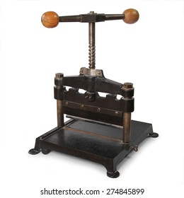 old paper press isolated in white background