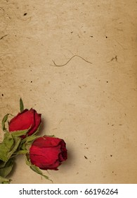 Old paper with roses - room for text or images