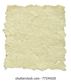 old paper with rough edges over white background
