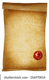Old paper scroll with wax seal