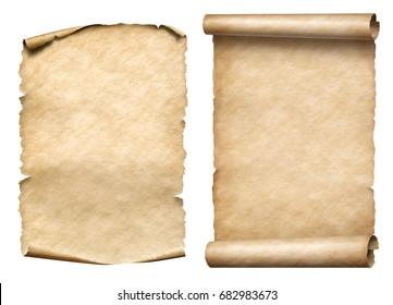 old paper scrolls or parchments 3d illustration set