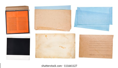Old paper set, isolated on white, high resolution