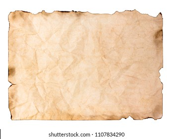 old paper sheet. Burnt manuscript or parchment isolated on white background