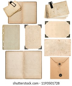 Old paper sheet, envelope, postcard, photo frame with corner isolated on white background