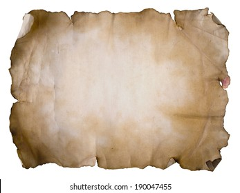 Old paper sheet on white