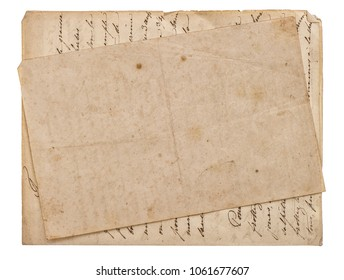 Old paper sheets. Aged blank page with edges on white background