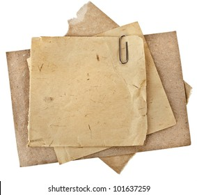 Old Paper sheets for letter with clip  isolated on white