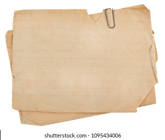 Old paper sheets for letter with clip isolated on white background.