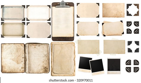 Old paper sheets, vintage photo frames and corners, open book, antique clipboard isolated on white background