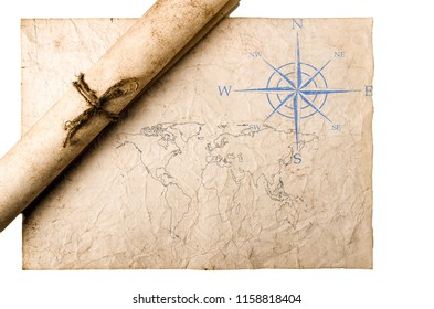 old paper texture with compass and map